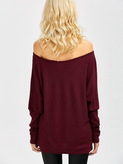 Asymmetric Neckline Batwing Sweater - WINE RED S Mobile