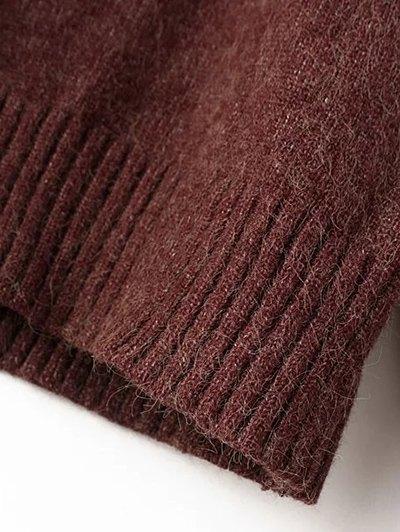 Long Sleeve Hoodie Sweater - PURPLISH RED ONE SIZE Mobile