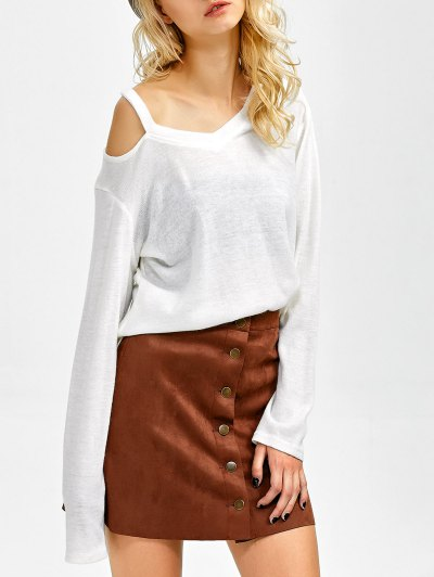 Cut Out V Neck Pullover Sweater - WHITE XL Mobile