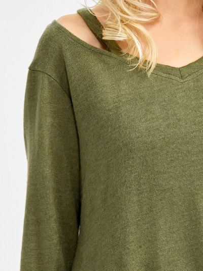 Cut Out V Neck Pullover Sweater - ARMY GREEN XL Mobile