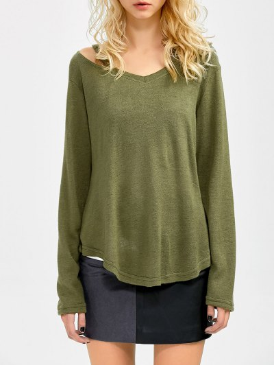 Cut Out V Neck Pullover Sweater - ARMY GREEN L Mobile