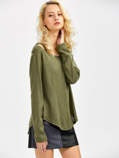 Cut Out V Neck Pullover Sweater - ARMY GREEN S Mobile