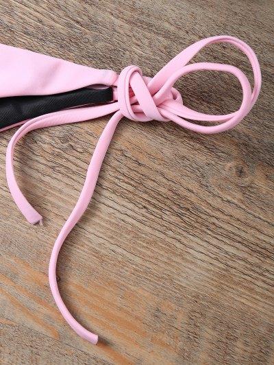 Color Block String Bikini Set - PINK M Mobile
