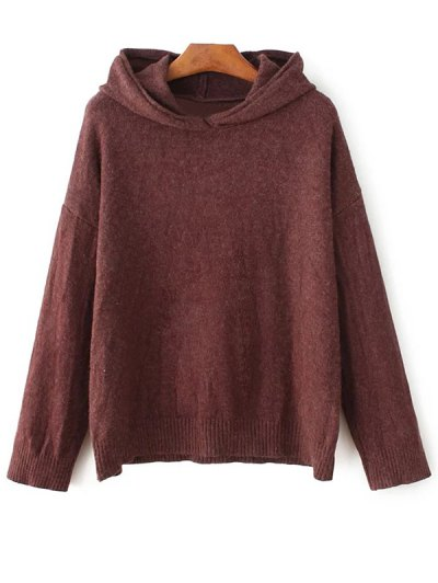 Long Sleeve Hoodie Sweater - DARK RED ONE SIZE Mobile