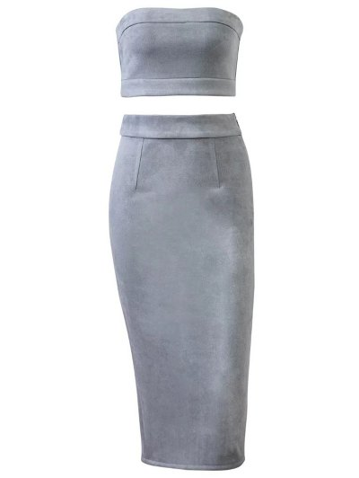 Suede Bodycon Skirt with Tube Top - GRAY M Mobile
