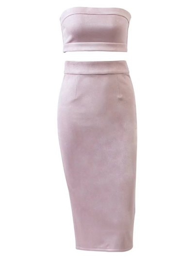 Suede Bodycon Skirt with Tube Top - PINK M Mobile