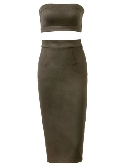 Suede Bodycon Skirt with Tube Top - ARMY GREEN M Mobile
