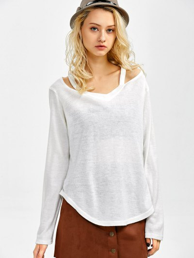 Cut Out V Neck Pullover Sweater - WHITE M Mobile