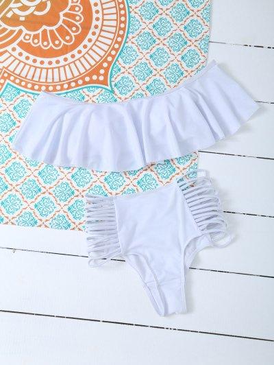 Padded Ruffles Top With Cutout Briefs Bikini - WHITE XL Mobile