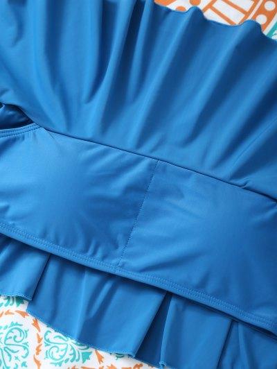 Padded Ruffles Top With Cutout Briefs Bikini - PEACOCK BLUE XL Mobile