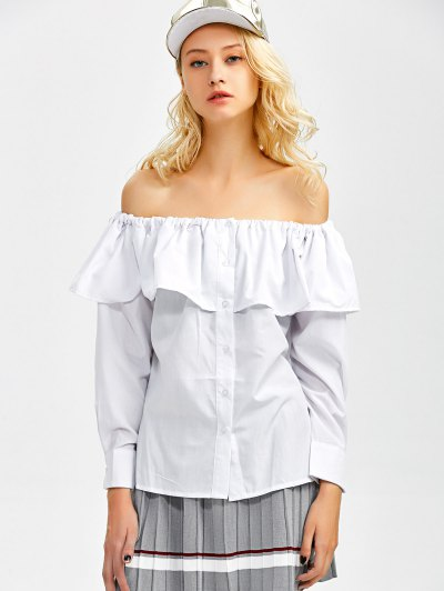 Frilled Off The Shoulder Blouse - WHITE M Mobile