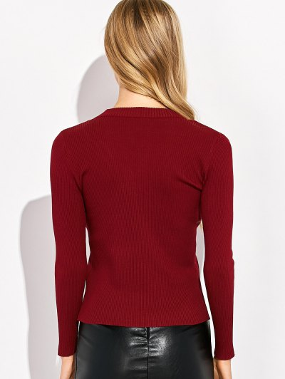 Choker Ribbed Knitwear - WINE RED M Mobile