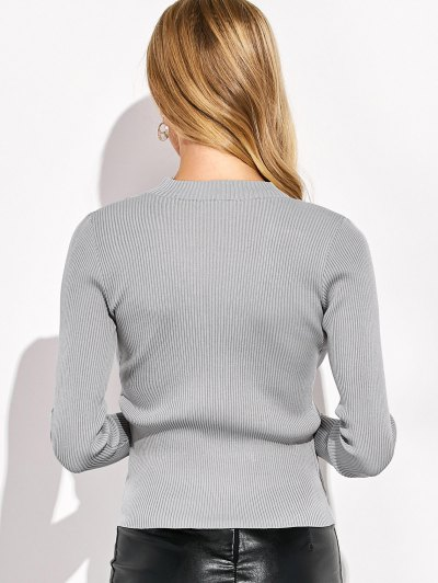 Choker Ribbed Knitwear - GRAY L Mobile