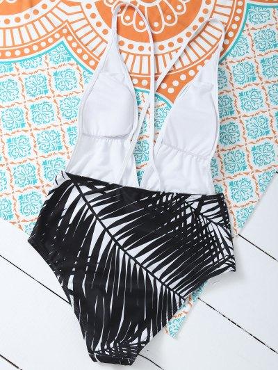 Leaf Print Low Cut Swimwear - WHITE M Mobile