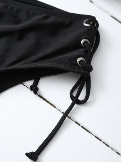 Strappy Lace-Up Bikini Set - BLACK M Mobile