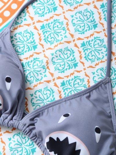 Cartoon Shark Pattern Halter Bikini - GRAY S Mobile
