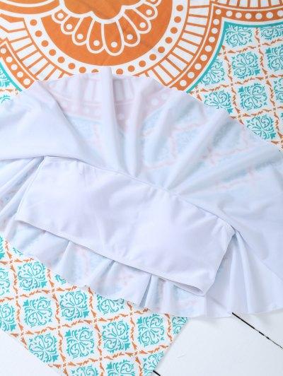 Padded Ruffles Top With Cutout Briefs Bikini - WHITE S Mobile