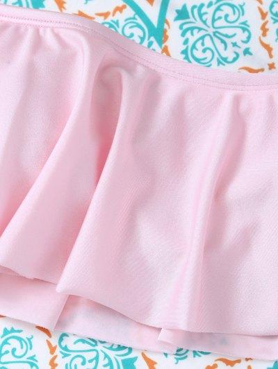 Padded Ruffles Top With Cutout Briefs Bikini - PINK M Mobile