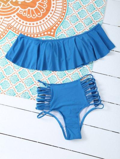Padded Ruffles Top With Cutout Briefs Bikini - PEACOCK BLUE L Mobile
