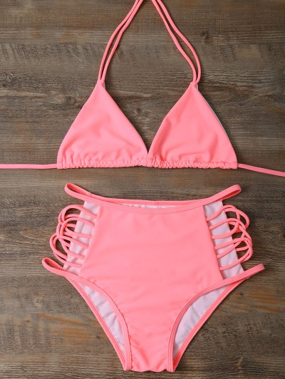 High Waist Cut Out Bikini Set - PINK S Mobile