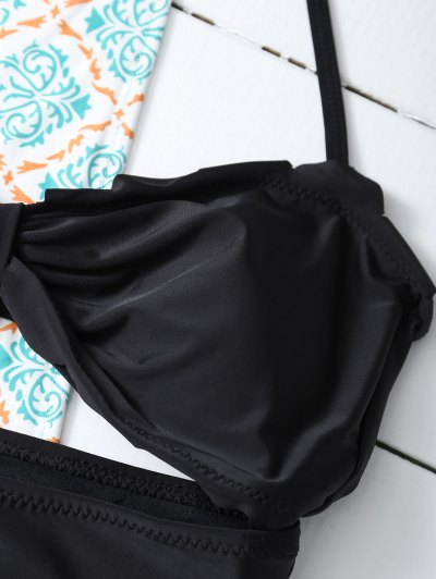 Bowknot Cut Out One-Piece Swimwear - BLACK S Mobile