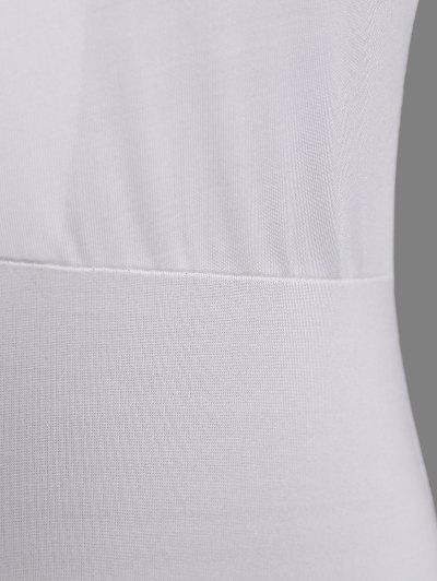 Cut Out Lace-Up Bodysuit - WHITE L Mobile