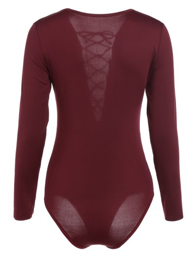 Cut Out Lace-Up Bodysuit - WINE RED S Mobile