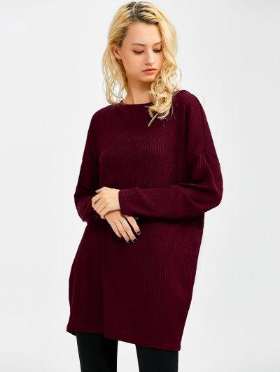Skew Neck Long Sleeve Jumper - WINE RED S Mobile