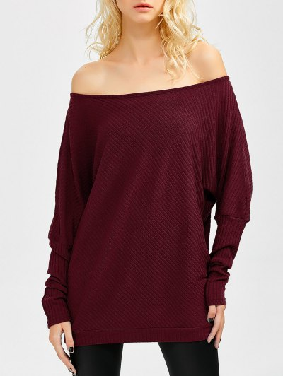 Asymmetric Neckline Batwing Sweater - WINE RED M Mobile