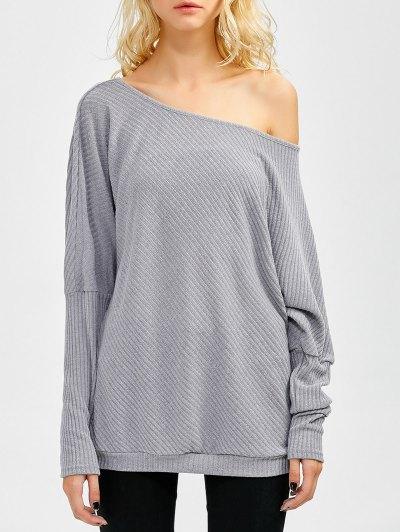 Asymmetric Neckline Batwing Sweater - GRAY S Mobile