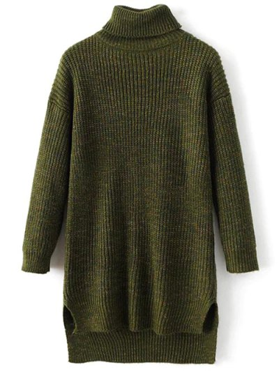 High Low Turtle Neck Heathered Jumper - GREEN ONE SIZE Mobile
