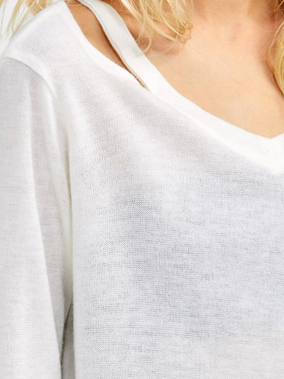 Cut Out Pullover Sweater - WHITE S Mobile