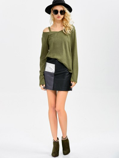 Cut Out Pullover Sweater - ARMY GREEN XL Mobile