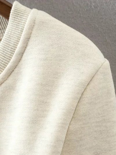 Lace Up Cropped Pullover Sweatshirt - OFF-WHITE L Mobile