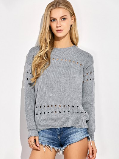 Cut Out Oversized Sweater - GRAY ONE SIZE Mobile