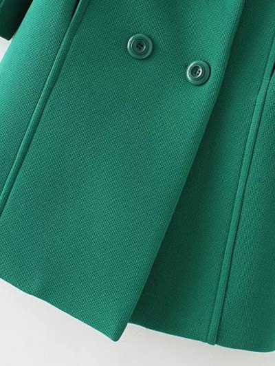 Textured Double Breasted Lapel Coat - GREEN M Mobile