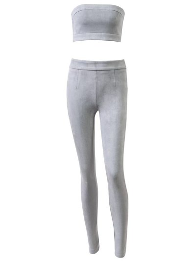 High Rise Suede Pants with Tube Top - GRAY L Mobile