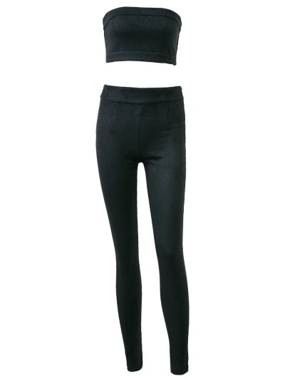 High Rise Suede Pants with Tube Top - BLACK L Mobile