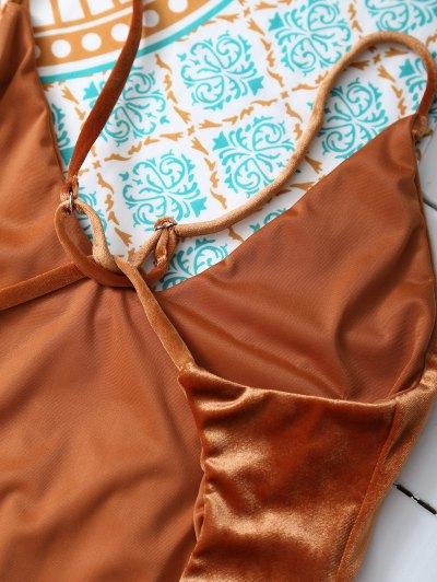 Reversible Cross Back Pleuche Swimwear - ORANGE M Mobile