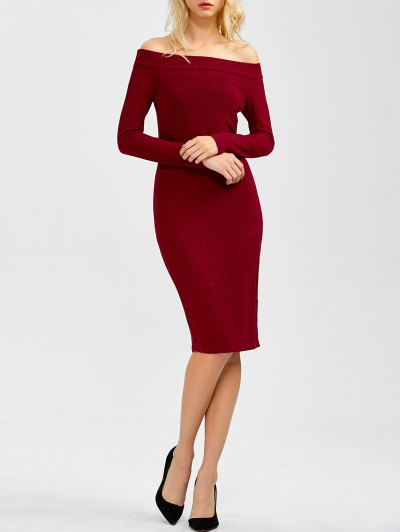 Off Shoulder Bodycon Long Sleeve Dress - Wine Red