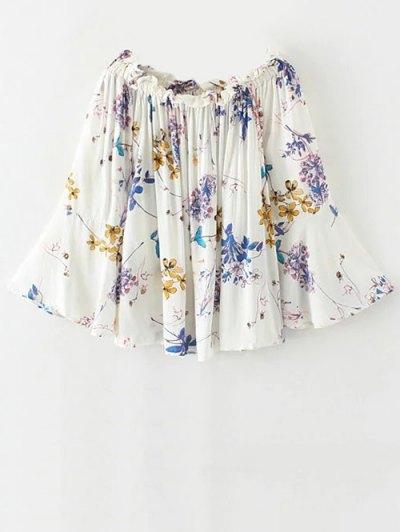 Off Shoulder Flare Sleeve Floral Blouse - White