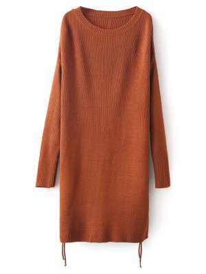 Longline Side Slit Sweater - Brown