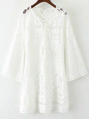 V Neck Bell Sleeve Lace Dress - White
