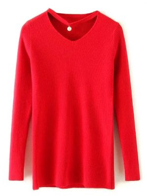 Choker Ribbed Sweater - Red