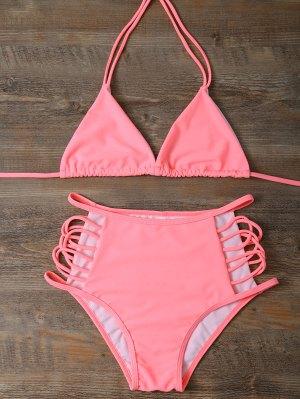 Talle Alto Recortable Bikini Set - Rosa