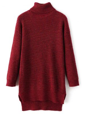 High Low Turtle Neck Heathered Jumper - Red