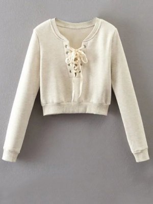 Lace Up Cropped Pullover Sweatshirt - Off-white