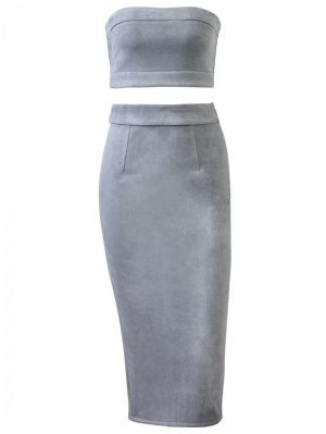 Suede Bodycon Skirt With Tube Top - Gray