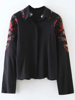 Cropped Flower Embroidered Shirt - Black