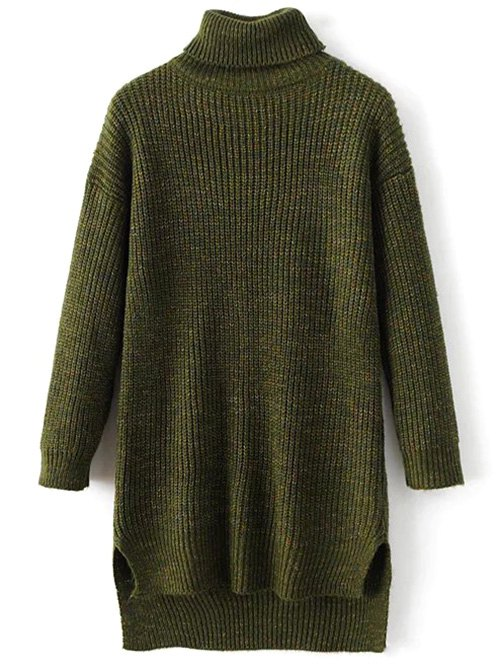 Turtle Neck High Low Heathered Sweater
